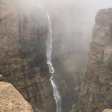 The beautiful waterfall, seen from the peak...