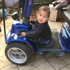 Alon, enjoying Savta's sweet ride, her scooter