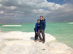Jon & I on a salt mound at the Dead Sea