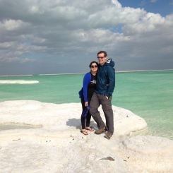 Jon & I on a salt mound at the Dead Sea