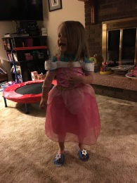 She wanted to try on her dress for us, which we fully supported.