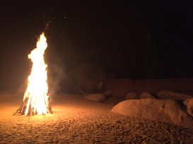 The big bonfire they made during the reception!