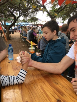Just a little light arm-wrestling at the Hazelwood Market!