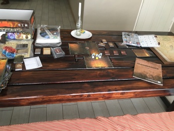 Our pretty sweet dining table, which Jon has repurposed for a gaming table! (With the biggest and nerdiest - AND HEAVIEST - game ever, Gloomhaven.)
