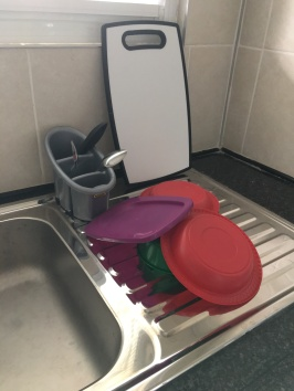 Our dish-drying system (along with our plastic bowls) - super efficient!