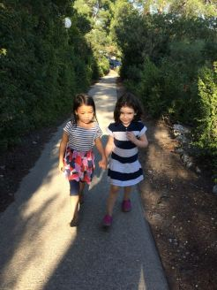 Cute cousins, walking to Nitza and Meir's house...