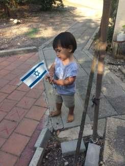 This kid is feeling patriotic...