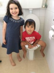 Maella liked to keep Alon company on the toilet, as one would...