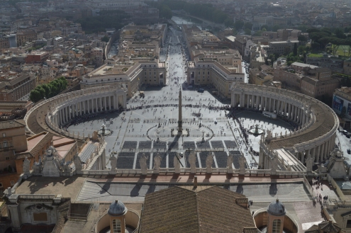 The view of Vatican City from the top of the dome
