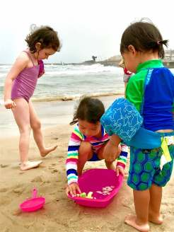 The kids went to the beach in Tel Aviv before we arrived - super cute...