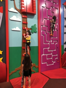 They had climbing walls, which the kids also loved...