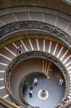The grand staircase in the Vatican Museum (and me)!