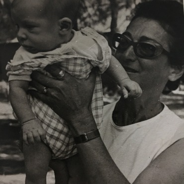 The birthday girl, circa 1972, with her second grandchild, Nachshon.