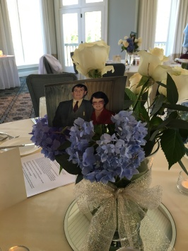Each table's centerpiece had a picture of Bill and Dale from their marriage.