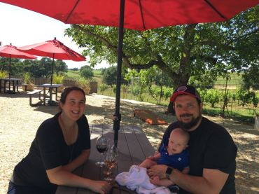 At wine-tasting! Lucas loved it!