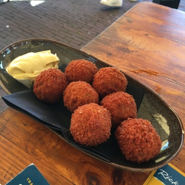 We tried bitterballen - fried meatballs. Yum.