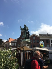 A statue of Laurens Janszoon Coster, the man who supposedly invented the printing press, in the central square.