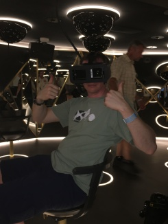 They had this fun virtual reality experience where you can pretend you're sailing around Amsterdam in 'The Amsterdam'