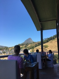The view of Lion's Head from our restaurant in the Bo Kaap!