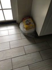 We sold our trash can so just put the bag on the floor...