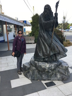 A statue of Gandalf in town...