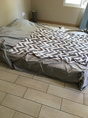 Once our mattress & bed frame sold, it was to the floor for us!